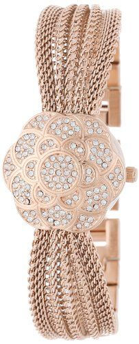 Anne Klein Women's AK/1046RGCV Swarovski Crystal Accented Rose Gold-Tone Covered Dial Mesh Bracelet Watch >> $110.00 << | Your #1 Source for Watches and A...