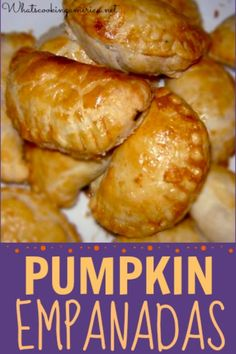 Mexican Pumpkin Empanadas Recipe & History - you choose to use canned pumpkin, make sure it is pumpkin puree and not pumpkin pie filling. Mexican Pastries, Mexican Sweet Breads, Mexican Bread, Mexican Dishes, Mexican Pumpkin Empanada Recipe, Pumpkin Recipes, Mexican Empanadas, Mexican Sweet Empanadas Recipe, Yummy Recipes