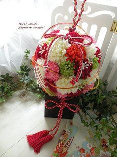 和装のボールブーケ カラフル アートフラワー(造花)