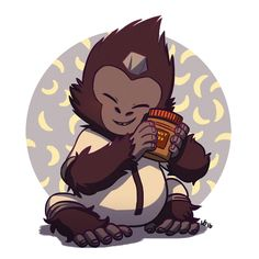 Overwatch - Winston Loving His Peanut Butter Overwatch Drawings, Overwatch Fan Art, V Games, Video Games, Overwatch Winston, Avatar, Fanart, Anime, World Of Warcraft