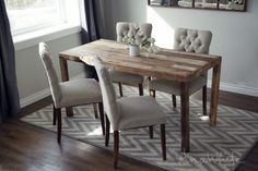 Modern Reclaimed Wood Dining Table Project Tutorial. Free and easy DIY furniture plans via Ana White.