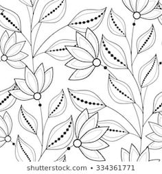 Imágenes similares, fotos y vectores de stock sobre Monochrome Seamless Pattern with Floral Motifs. Endless Texture with Flowers, Leaves etc. Natural Background in Doodle Line Style. Coloring Book Page. Cushion Embroidery, Embroidery Neck Designs, Floral Embroidery Patterns, Embroidery Works, Hand Embroidery Patterns, Fabric Patterns, Floral Texture, Pencil Design, Cross Stitch Designs