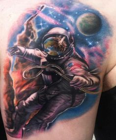 Crazy tattoo done by Johnny Smith. Look at the visor of the astronaut. I love it! #tattoo #tattoos #ink