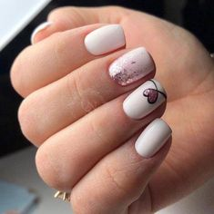 : Easy Heart For Valentines Nails to Express Your Love Latest . Easy Heart For Valentines Nails To Express Your Love, You Never Know How Much I Love You. White Nails, Pink Nails, Hair And Nails, My Nails, Nail Manicure, Nail Polish, Romantic Nails, Heart Nails, Natural Nails
