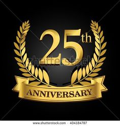 25th golden anniversary logo with ring and ribbon, laurel wreath vector design isolated on black background