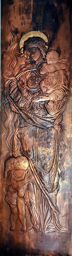 """Charity"" - a copy of a stained glass window by Edward Burne-Jones .. Copper panel - 150 x 40 cm"