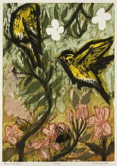 Bees and Birds  woodcut  Kent Ambler