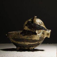 Raku Ceramic Boar Flower Pot