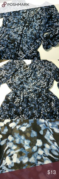 Sheer blue flowery blouse💞💞💞 Springtime fun in this flowy blue blouse💞💞looks pretty with dark Capri pants💞💞💞 Lane Bryant Tops Blouses