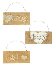 Another great find on #zulily! 'Always' 'Blessed' & 'Loved' Heart Wall Signs - Set of Three #zulilyfinds