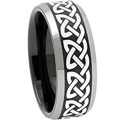 COI Tungsten Carbide Celtic Wedding Band Ring - 3086 sold by coi Jewelry. Shop more products from coi Jewelry on Storenvy, the home of independent small businesses all over the world. Mens Wedding Rings Platinum, Black Wedding Rings, Celtic Wedding Bands, Wedding Ring Bands, Blue Rings, Opal Rings, Emerald Rings, Cheap Engagement Rings, Celtic Rings