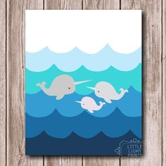 6e4fa8fb2ec Narwhal Family by LittleLightPrints on Etsy