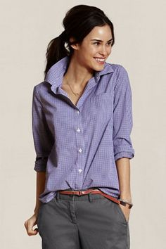 Just spotted this at Sears today... I was so excited to find Lands' End Canvas stuff in stores! Plus I LOVE purple! (Women's Patterned Stretch Poplin Shirt in Grape Tattersall, NOW $24.99)