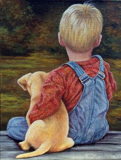 My buddy, boy and his puppy, dog, child - Design Art Painting People, Painting For Kids, Painting & Drawing, Painting Abstract, Art Abstrait, Pictures To Paint, Dog Art, Painting Inspiration, Cute Kids