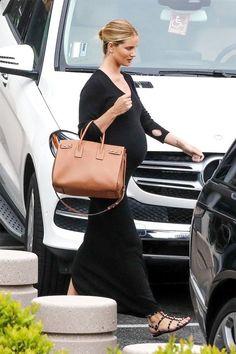 Who made Rosie Huntington-Whiteley's black studded flat sandals, maxi dress, jewelry, sunglasses, and brown tote handbag? Stylish Maternity, Maternity Fashion, Maternity Style, Fashionable Pregnancy, Kardashian, Pregnancy Outfits, Pregnancy Style, Pregnancy Info, Maternity Outfits