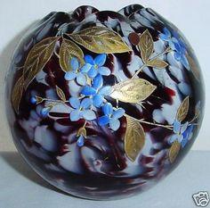 Harrach Signed Rosebowl Art Nouveau Magnificent Hand Painted