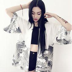 Japan Vintage novelty summer dragon waves printed chiffon sun protection cardigan kimono sun shirt women clothing outerwear