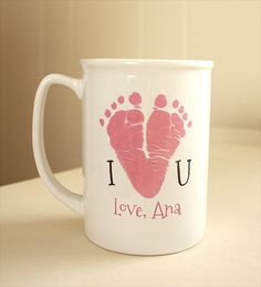 Your child's actual prints on a mug with special message. Heart, Mother's Day…
