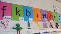 Als het tijd is om de letterkaarten weg te ruimen, kunnen deze in de plaats komen met de naam van een kind met die letter I Love School, Jolly Phonics, Language Lessons, 4 Kids, Montessori, Twitter, Literacy, Kindergarten, Preschool
