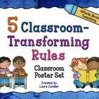 FREE 5 Classroom-Transforming Rules - Poster Set for Whole Brain Teaching Kindergarten Classroom Setup, Classroom Rules Poster, Classroom Themes, School Classroom, Classroom Displays, Classroom Discipline, Classroom Behavior Management, Behavior Plans, Behavior Charts