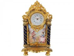 VIENNESE GILT METAL AND ENAMEL MINIATURE CLOCK. Austrian, 20th c.