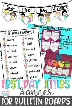 Easily build social-emotional learning into your Back to School curriculum with this low-prep banner and activity for First Day Jitters! This resource includes four differentiated banners for grades first-fifth and/or for emergent Back To School Activities, School Resources, Beginning Of The School Year, First Day Of School, First Day Jitters, Writing Portfolio, Back To School Night, First Grade Classroom, Happy Words