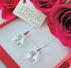Ebay-jewellerymw-EARRINGS SWAROVSKI Elements ALMOND WHITE PATINA 16mm STERLING SILVER 925-$11.05
