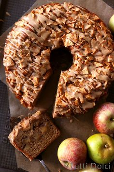 Fresh Apple Cake with Brown Sugar Glaze, an easy no-mixer cake loaded with apples and drizzled with glaze!