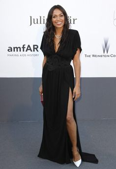 Cannes Film Festival 2013. amfAR's 20th Annual Cinema Against AIDS: Rosario Dawson in Vionnet.  #RosarioDawson #Vionnet #cannes #redcarpet  #fashion #moda