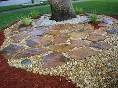 beautiful examples of using mulch, rocks and pavers in florida as garden designs