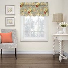 Waverly Sanctuary Rose 18-In Clay Cotton Rod Pocket Valance 15400052018Cly