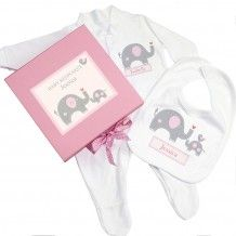 Personalised Pink Baby Elephant Gift Set - Babygrow & Bib in a Gift Box Personalised Childrens Gifts, Personalized Baby Gifts, Pink Elephant, Elephant Gifts, Baby Jessica, Baby Keepsake, Baby Gift Sets, New Baby Girls, Heart For Kids