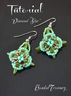 """Diamond Star"" beading tutorial with Spike beads, two-hole superduo beads, seed beads and bugle beads. Bead pattern by BeadedTreasury"