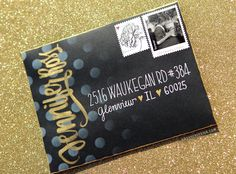 Dots & Gold Brush Lettering Envelope - Mail Art