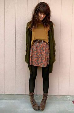 cool Sweater: fall colors fall outfits hipster floral skirt mustard skirt