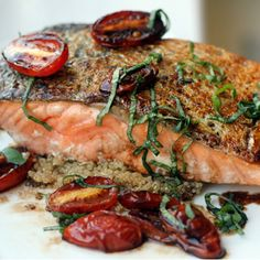 This sounds like a fast weekday dinner. Check out the recipe for 5-Minute Pan-Seared Salmon with Crispy Tomatoes over Quinoa.