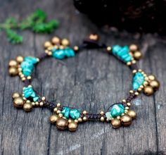 Turquoise Bell Group Anklet by brasslady on Etsy, $9.00