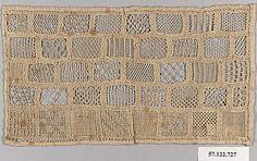 """German Sampler 19C Linen with cutwork, drawnwork and needlelace 4 1/2 x 8"""" met museum 57.122.727"""