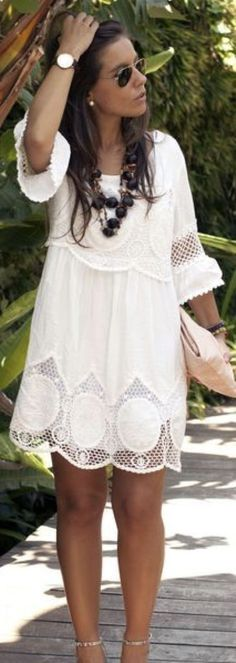 SPRING & SUMMER FASHION TRENDS 2017! Boho fashion. Beautiful lightweight cream boho dress with 3/4 length bell sleeve and lace overlay. Airy for festivals like Coachella & Bonnaroo! Ask your Stitch Fix Stylist to send you this TODAY!!! #SPONSORED #STITCHFIX