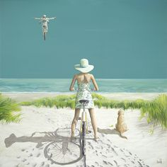 'Indian Summer' - print on canvas by David Jonathan Marshall Fun! David And Jonathan, Marshal Arts, Bike Illustration, Cycle Chic, Bicycle Art, Summer Prints, Beach Print, Cycling Art, Indian Summer
