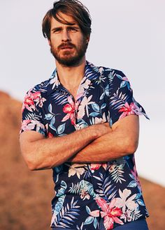 Men's Clothing Aspiring New Men Casual Shirts 2019 Summer Desert Printing Mens Floral Hawaiian Shirt Loose Comfort Male Holiday Beach Clothing Big Size Casual Shirts