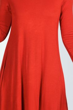 April Scoop Neck Long Sleeve Swing Dress