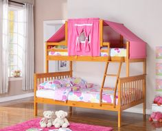 Get the most out of your space with our classic twin over full bunk beds for girls with a fixed ladder and fun pink tent on top. This bunk bed feature solid pinewood construction in an attractive hone