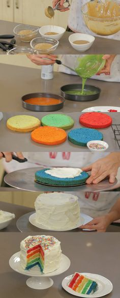 How To Make a Rainbow Birthday Cake - Novelty Birthday Cakes Cake Recipes, Dessert Recipes, Novelty Birthday Cakes, Cake Decorating Techniques, Cake Tutorial, Cakes And More, Cupcake Cookies, Let Them Eat Cake, No Bake Cake