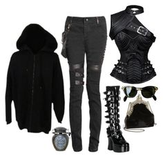 """""""Untitled #440"""" by goth-proxy ❤ liked on Polyvore featuring Demonia, House of Harlow 1960, Burton and gothgoth"""