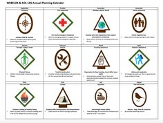Annual planning calendar for Webelos/Arrow of Light ranks for LDS or year-round packs. | CubScoutLove.blogspot.com