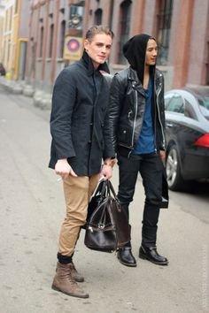 Shop this look for $152:  http://lookastic.com/men/looks/tan-chinos-and-charcoal-pea-coat-and-brown-leather-boots/594  — Khaki Chinos  — Charcoal Pea Coat  — Brown Leather Boots