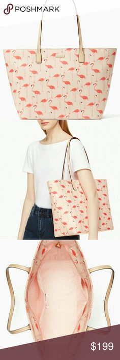 """NWT Kate Spade Signature Flamingo Tote Absolutely gorgeous and fun, full zip shoulder tote with signature flamingo print tote shopper. Measurements: H 11.3"""", W 15.6"""", D 6.2"""" drop length is 10"""". Material is leather grainy vinyl. 14 - karat hardware. Dual interior slide pockets and zipper pocket. Feel free to make an offer! kate spade Bags"""