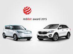 Kia Soul EV ganador de los Premios Red Dot 2015 y mención de honor para el nuevo Kia Sorento.