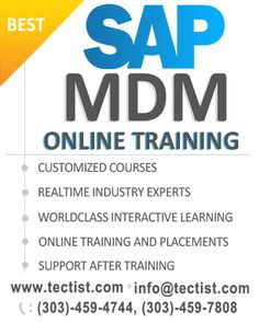 SAP MDM Online Training   SAP Master Data Management Course: The best SAP MDM Online Training providing you by real time experts at Tectist. We offer SAP Master Data Management online training and all SAP Modules online training. http://www.tectist.com/sap-mdm-online-training.html